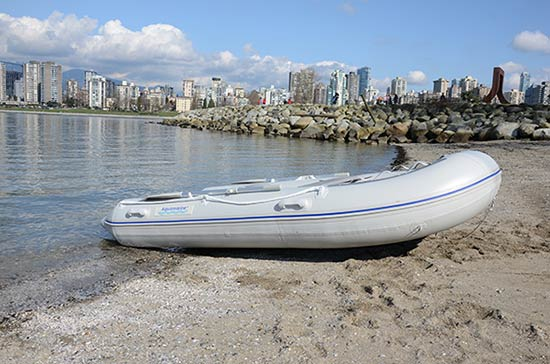 10 ft inflatable boat on the beach Vancouver Canada