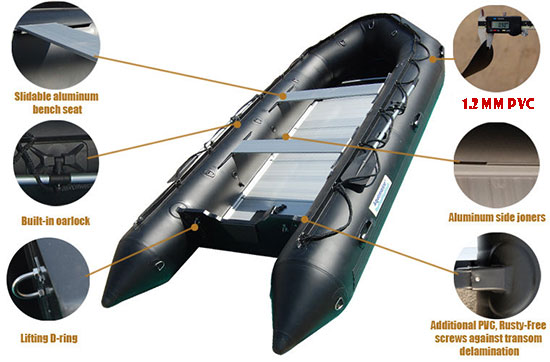 14 ft inflatable boat specific details professional SERIES HEAVY DUTY PVC