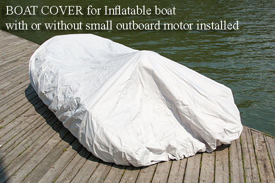 Inflatable boat with outboard motor cover