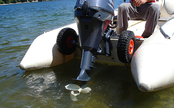 Flip Up Boat Launching wheels stainless