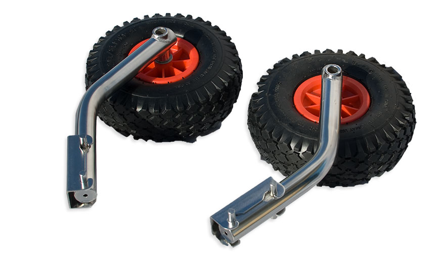 Quick release launching wheels stainless for inflatable dinghy